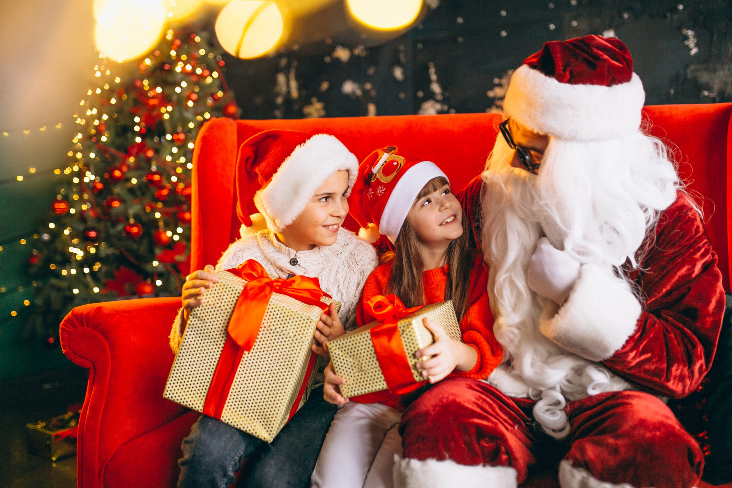 santa sat with kids